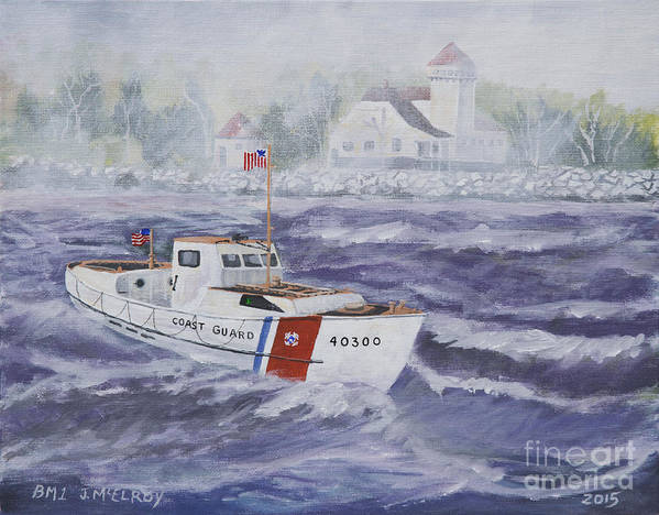 Coast Guard Art Print featuring the painting C G 40300 At Coast Guard Station Plum Island by Jerry McElroy