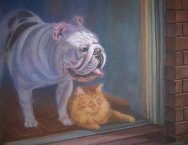 English Bulldogs Art Print featuring the painting Caesar and Lily by Diane Caudle