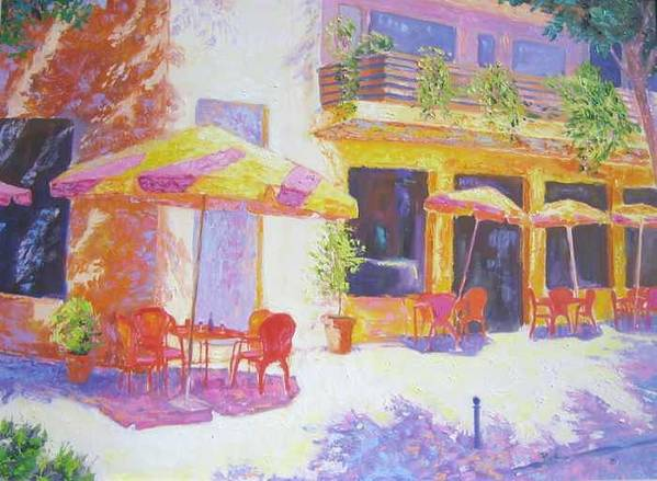 Oil Art Print featuring the painting Cafe in Spain by Pixie Glore