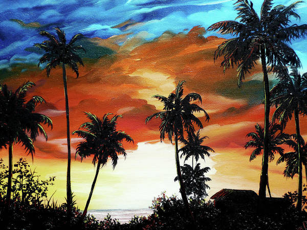 Tobago Sunset  Does Not Need A Frame Gallery Wrapped Art Print featuring the painting Caribbean Sunset by Karin Dawn Kelshall- Best