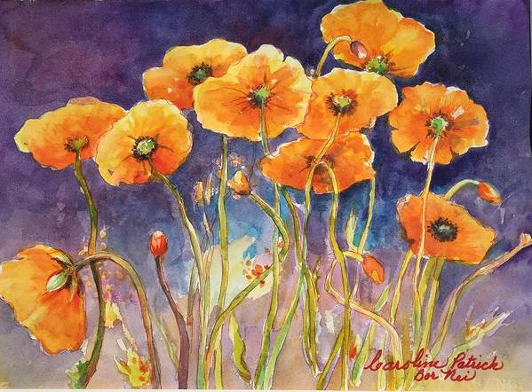 Poppies Art Print featuring the painting Catching The Light by Caroline Patrick
