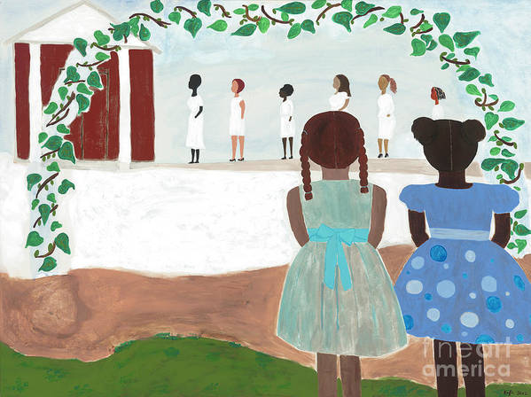 African American Art Print featuring the painting Ceremony in Sisterhood by Kafia Haile