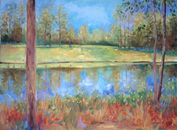 Ponds Art Print featuring the painting Cherry Moon Pond by Ginger Concepcion