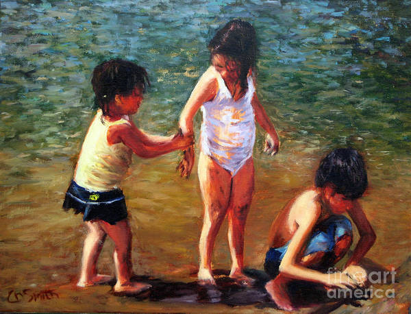 Children Art Print featuring the painting Children at play by Chris Neil Smith