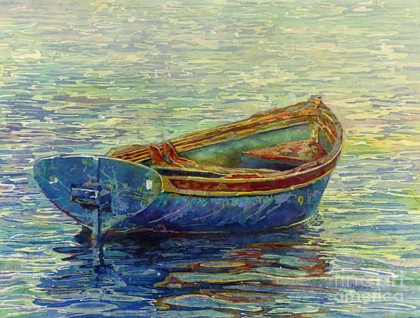 Rowboat Art Print featuring the painting Coastal Lullaby by Hailey E Herrera