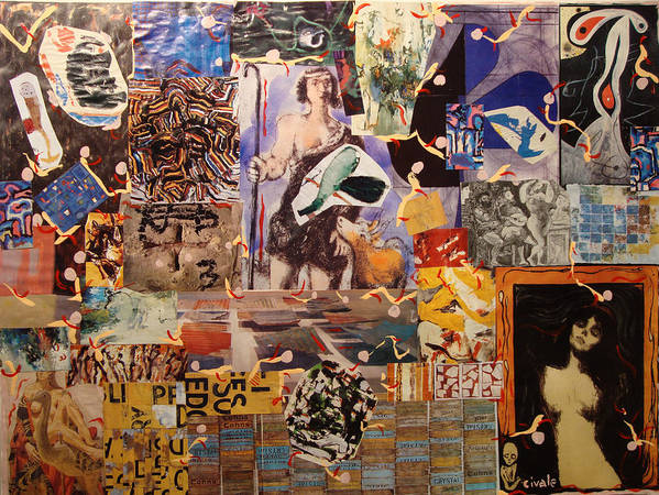 Art Print featuring the painting Collage with Munch by Biagio Civale