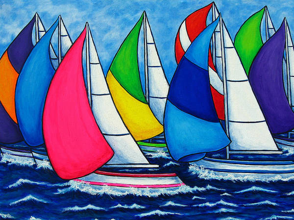 Boats Art Print featuring the painting Colourful Regatta by Lisa Lorenz