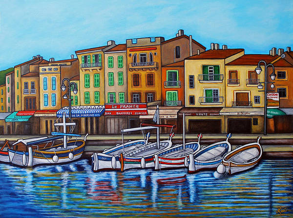Cassis Art Print featuring the painting Colours of Cassis by Lisa Lorenz