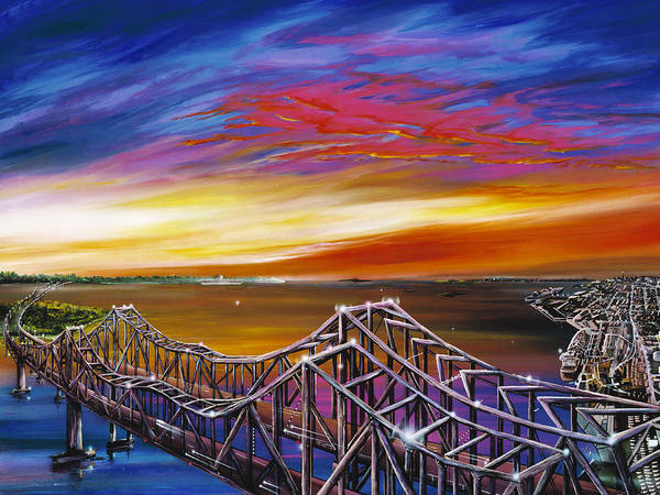 Clouds Art Print featuring the painting Cooper River Bridge by James Christopher Hill