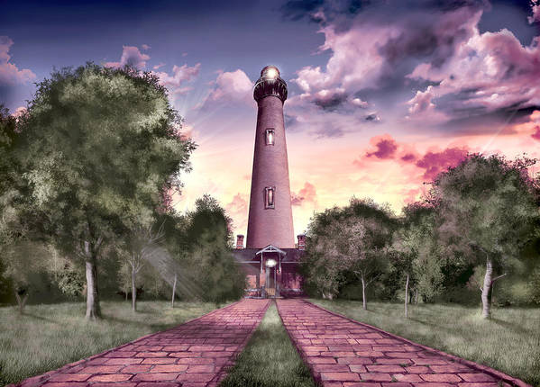 Lighthouse Art Print featuring the painting Currituck Beach Lighthouse 2 by Bekim M