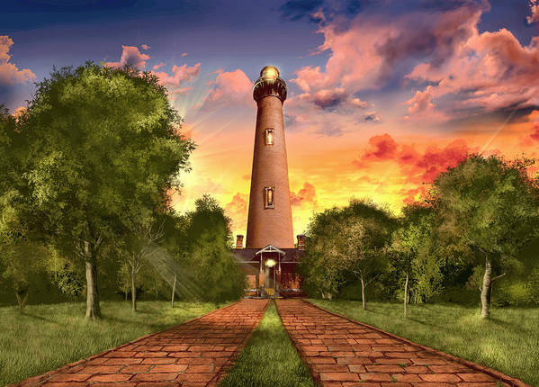 Lighthouse Art Print featuring the painting Currituck Beach Lighthouse 3 by Bekim M