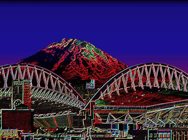 Seattle Art Print featuring the photograph Da Mountain and Stadia 3 by Tim Allen