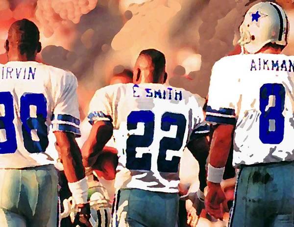 Dallas Cowboys Art Print featuring the mixed media Dallas Cowboys Triplets by Paul Van Scott