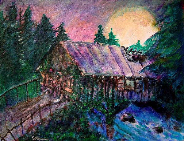 Dangerous Bridge Art Print featuring the painting Dangerous Bridge by Seth Weaver