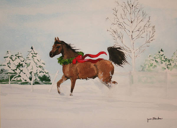 Horse Art Print featuring the painting Dashing Thru The Snow by Jean Blackmer