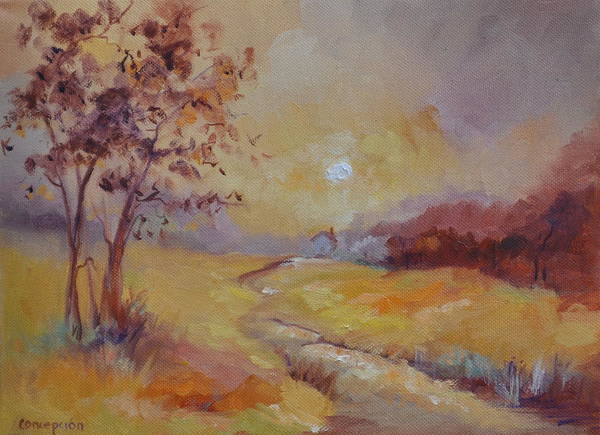 Evening Landscape Art Print featuring the painting Day's End by Ginger Concepcion