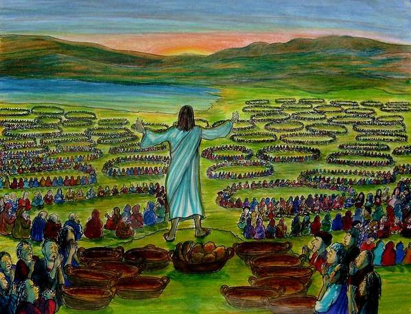 Christ Art Print featuring the painting Dear Heavenly Father thankyou for the food... by Richard Hubal