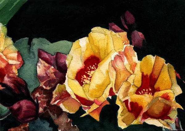 Watercolor Art Print featuring the painting Desert Flowers by Patricia Halstead