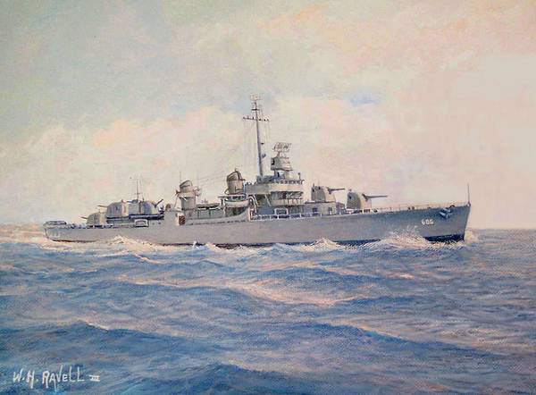 Ships Art Print featuring the painting Destroyer Halsey Powell by William H RaVell III