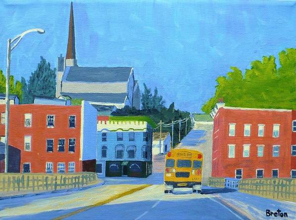 Landscape Art Print featuring the painting Downtown With School Bus   by Laurie Breton
