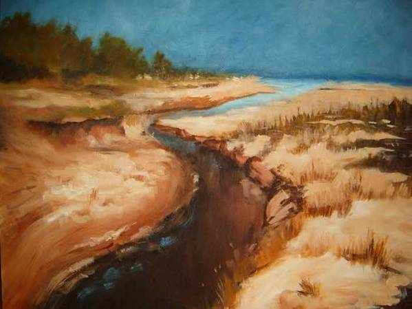 River Bed Art Print featuring the painting Dry river bed by Nellie Visser