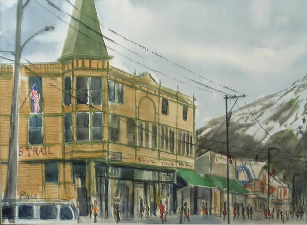 Cityscape Art Print featuring the painting E Trail by Pete Maier