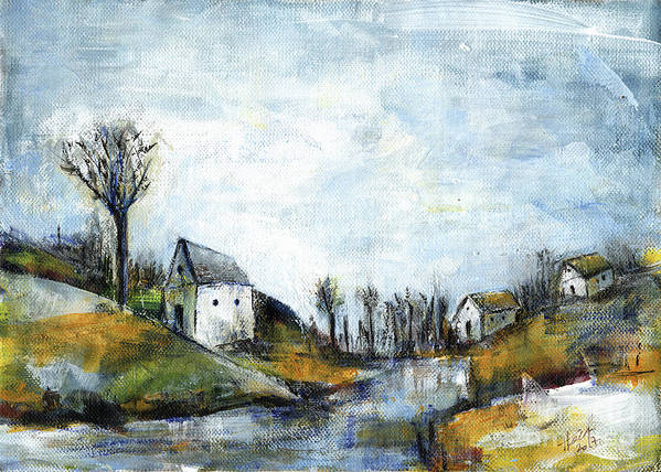 Landscape Art Print featuring the painting End Of Winter - Acrylic Landscape Painting On Cotton Canvas by Aniko Hencz