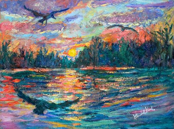 Landscape Art Print featuring the painting Evening Flight by Kendall Kessler