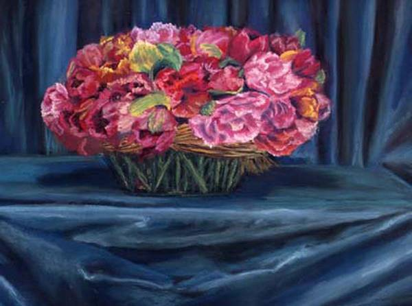 Flowers Art Print featuring the painting Fabric And Flowers by Sharon E Allen