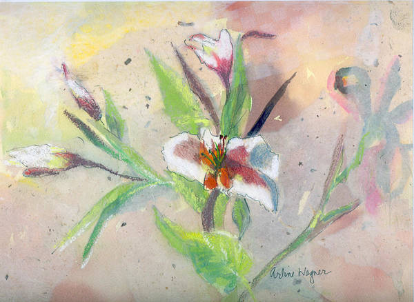 Flower Art Print featuring the painting Faded Lilies by Arline Wagner