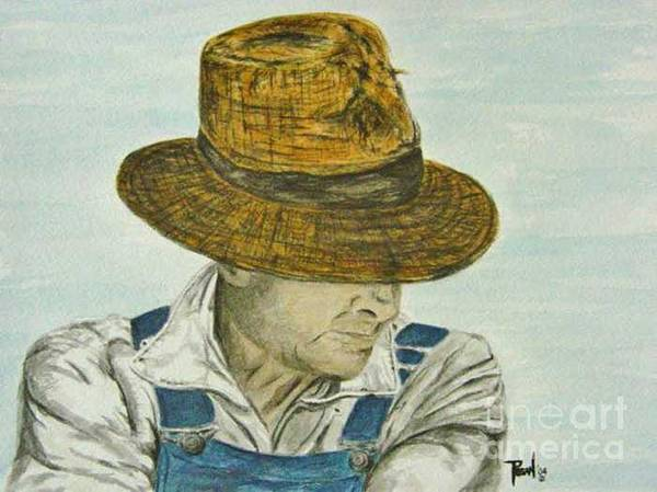 Portrait Art Print featuring the painting Farmer Ted by Regan J Smith