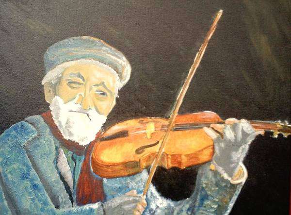 Hungry He Plays For His Supper Art Print featuring the painting Fiddler Blue by J Bauer