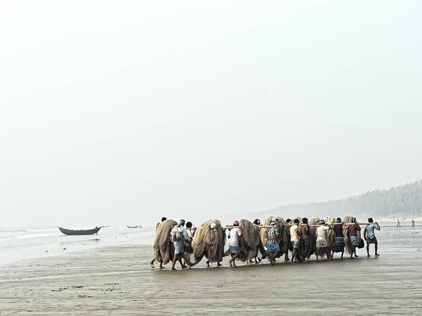 Fishermen Art Print featuring the photograph Fishermen At Digha, West Bengal 2010 by Chris Honeyman