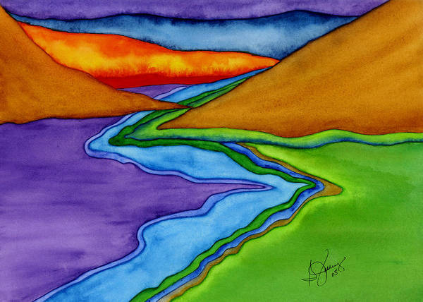 Abstract Art Print featuring the painting Flow - Blending the Chakras by Stephanie Jolley