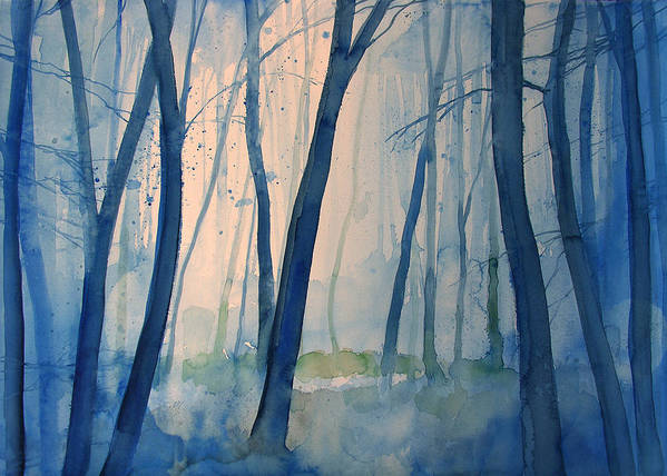 Tree Art Print featuring the painting Fog in the forest by Alessandro Andreuccetti