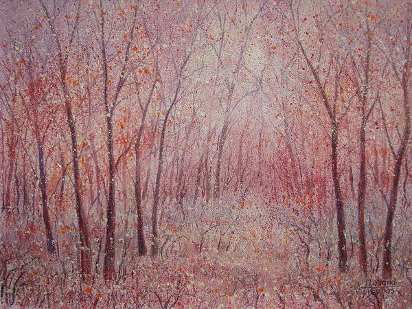 Landscape Art Print featuring the painting Forest Stillness. by Leonard Holland