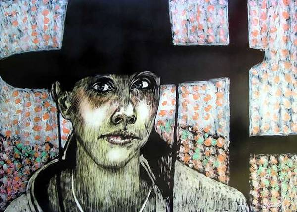 Art Print featuring the mixed media Geri by Chester Elmore