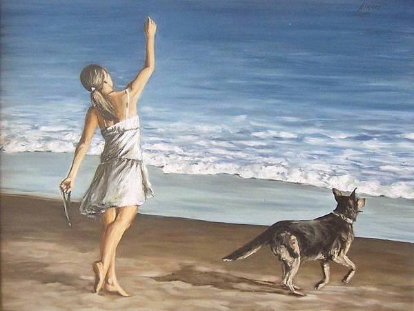 Portrait Girl Beach Dog Seascape Sea Children Figure Figurative Art Print featuring the painting Girl And Dog by Natalia Tejera