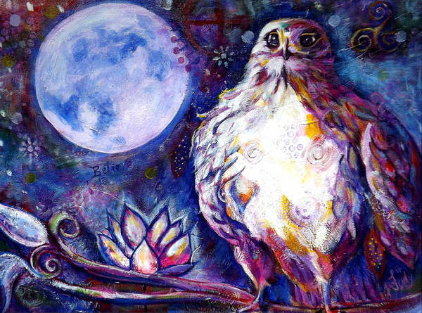 Goddess Art Print featuring the painting Goddes Hawk by Goddess Rockstar