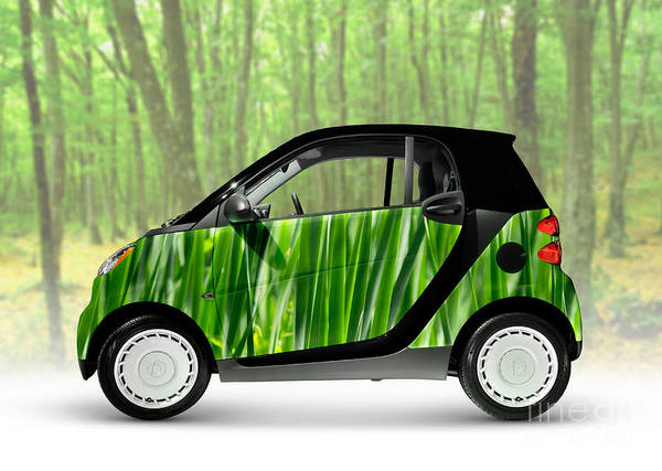 Smart Art Print featuring the photograph Green Mini Car by Maxim Images Prints
