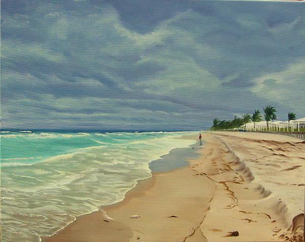 Beach Art Print featuring the painting Grey Day On The Beach by Lea Novak
