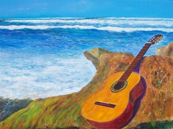 Seascape Art Print featuring the painting Guitar Seascape by Tony Rodriguez