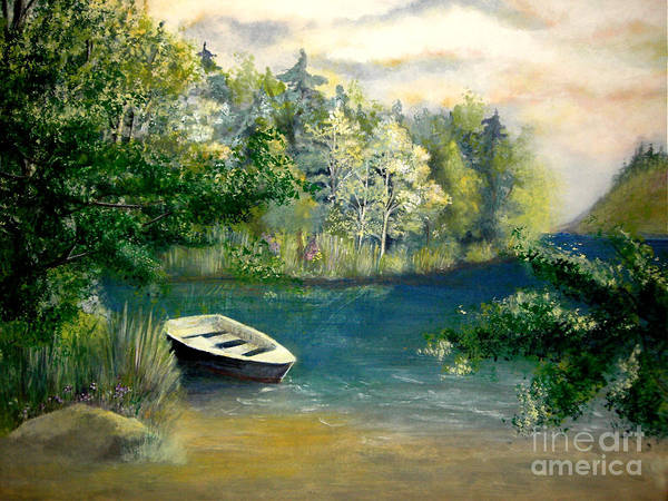 Landscape Art Print featuring the painting Hatzec Lake by Vi Mosley