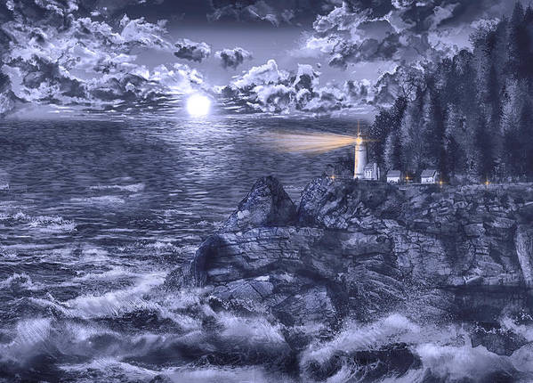 Lighthouse Art Print featuring the painting Heceta Head Light Blue by Bekim M