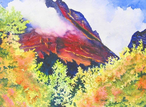 Mountain Art Print featuring the painting Heights of Glacier Park by Karen Stark