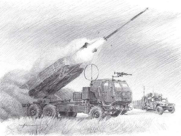 Www.miketheuer.com Himars Pencil Portrait Art Print featuring the drawing HIMARS pencil portrait by Mike Theuer