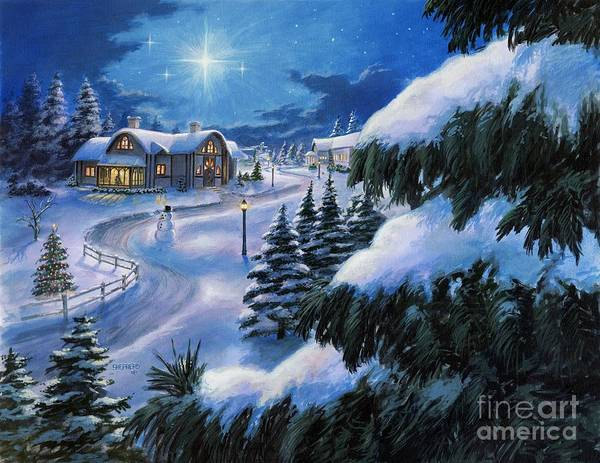 Christmas Art Print featuring the painting Holiday Lane by Stu Shepherd