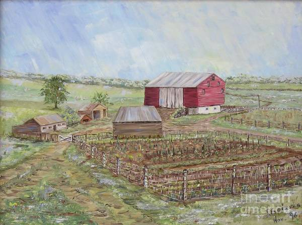 Red Barn With Several Other Small Sheds; Garden In Foreground; Landscape Art Print featuring the painting Homeplace - The Barn and Vegetable Garden by Judith Espinoza