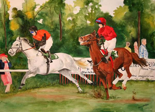 Racing Art Print featuring the painting Homestretch by Jean Blackmer