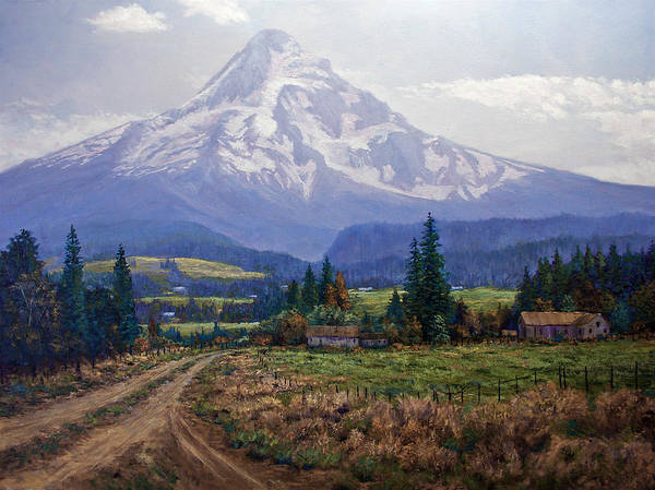 Mt Hood Oregon From Hood River Valley Art Print featuring the painting Hood River Valley by Donald Neff
